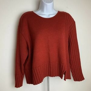 Oska Wool Sweater Ribbed Red Knit